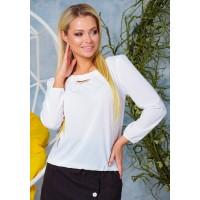 Женская красивая блузка из шифона на резинке весна белая