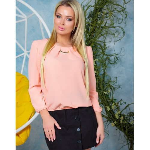 Женская красивая блузка из шифона на резинке весна персиковая