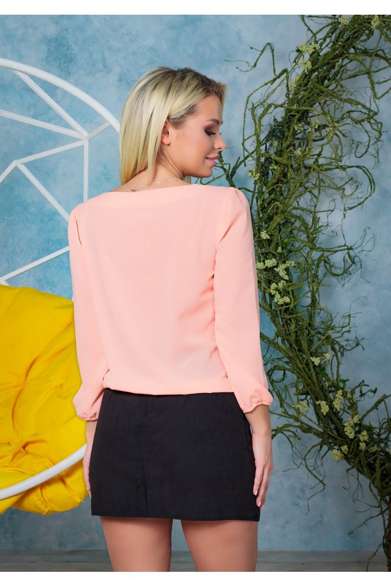 Жіноча красива блузка з шифону на резинці весняна персикова