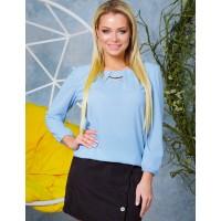 Женская красивая блузка из шифона на резинке весна голубая