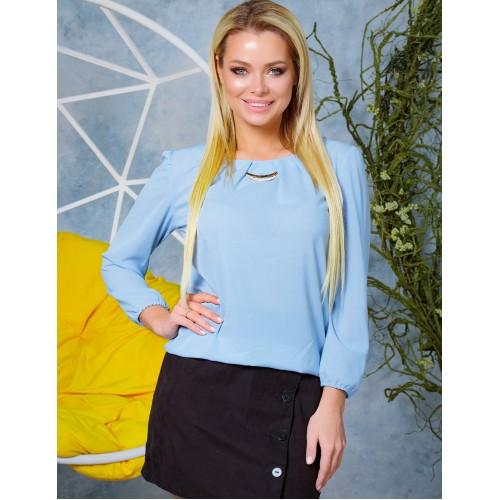 Жіноча красива блузка з шифону на резинці весняна блакитна