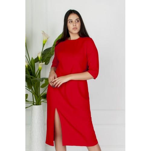 Гарне плаття з розрізом спереду червоне