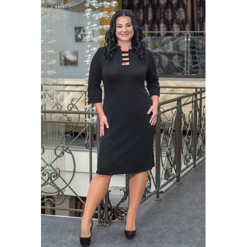 Сукня жіноча пряма до коліна в діловому стилі чорного кольору
