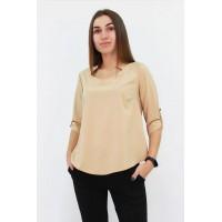 Стильна жіноча блузка вільного крою кольору бежева