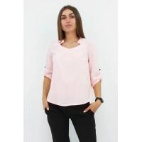 Стильна жіноча блузка вільного крою кольору рожева