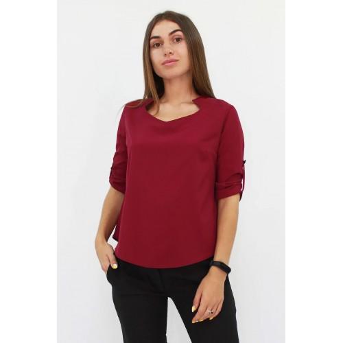 Стильна жіноча блузка вільного крою кольору марсала