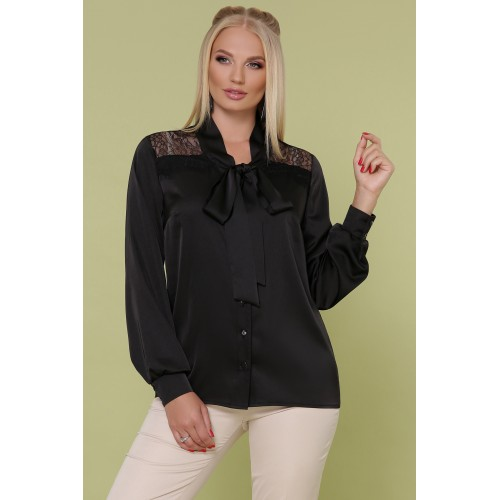 Ошатна шовкова блуза великого розміру з мереживом чорна