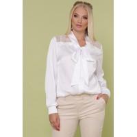Ошатна шовкова блуза великого розміру з мереживом біла
