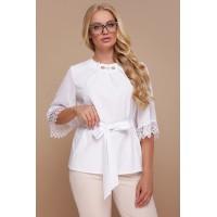 Жіноча стильна блуза великого розміру з мереживом біла