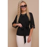 Жіноча стильна блуза великого розміру з мереживом чорна