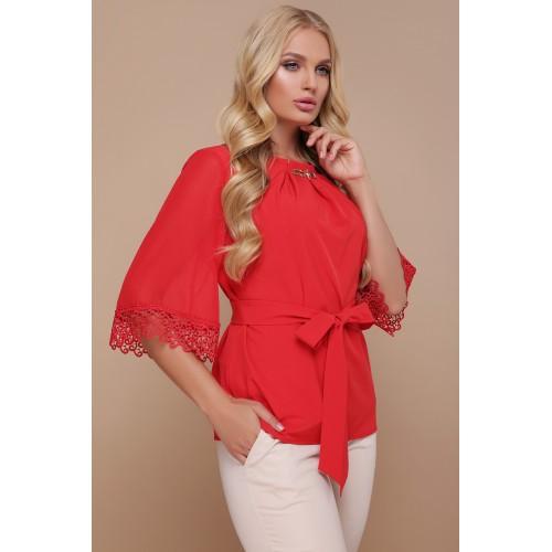 Жіноча стильна блуза великого розміру з мереживом червона