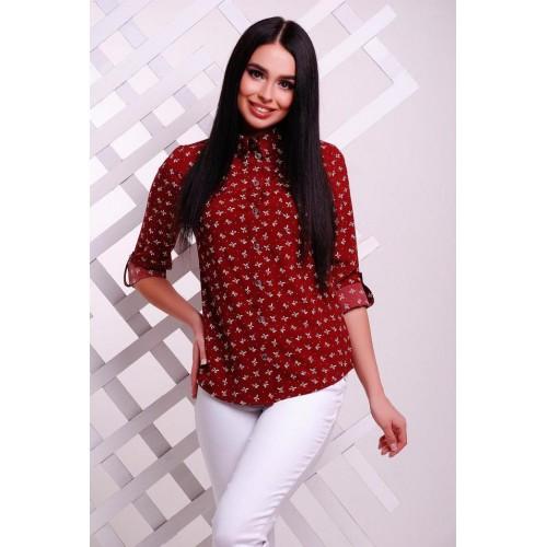 Блузка рубашка женская с воротником бордовая