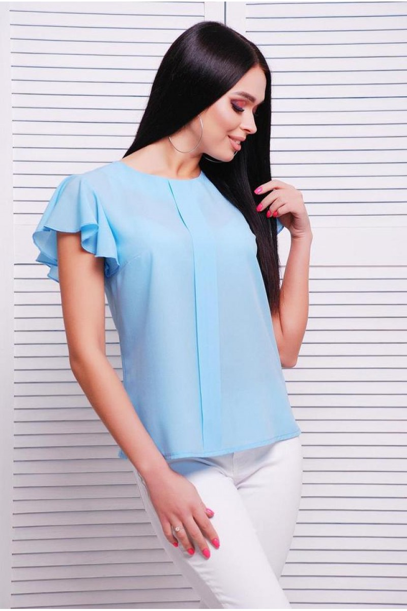 Летняя женская блуза с воздушным рукавчиком голубая