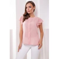 Шифоновая модная блуза с рукавом воланом пудра