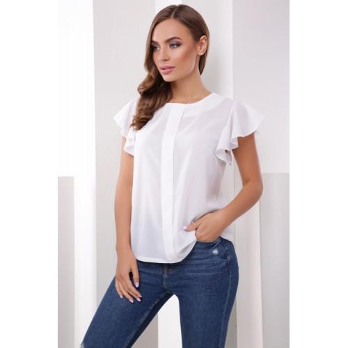 Біла жіноча блузка шифонова з рукавом воланом