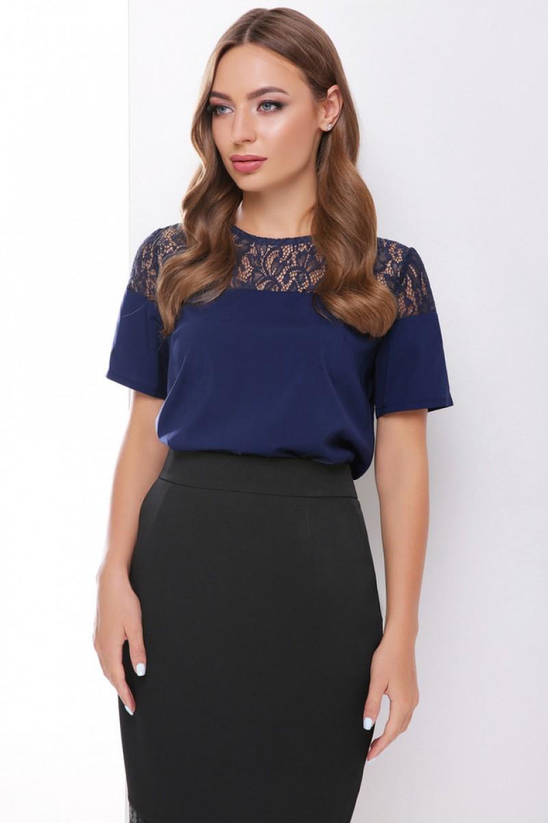 Блузка з коротким рукавом і мереживом темно-синя