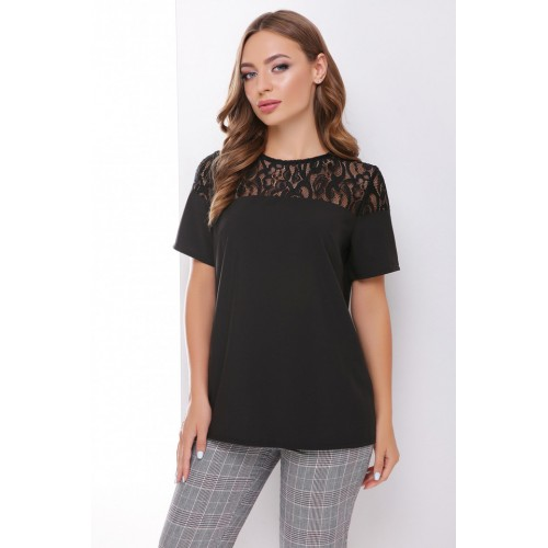 Блузка з коротким рукавом і мереживом черна