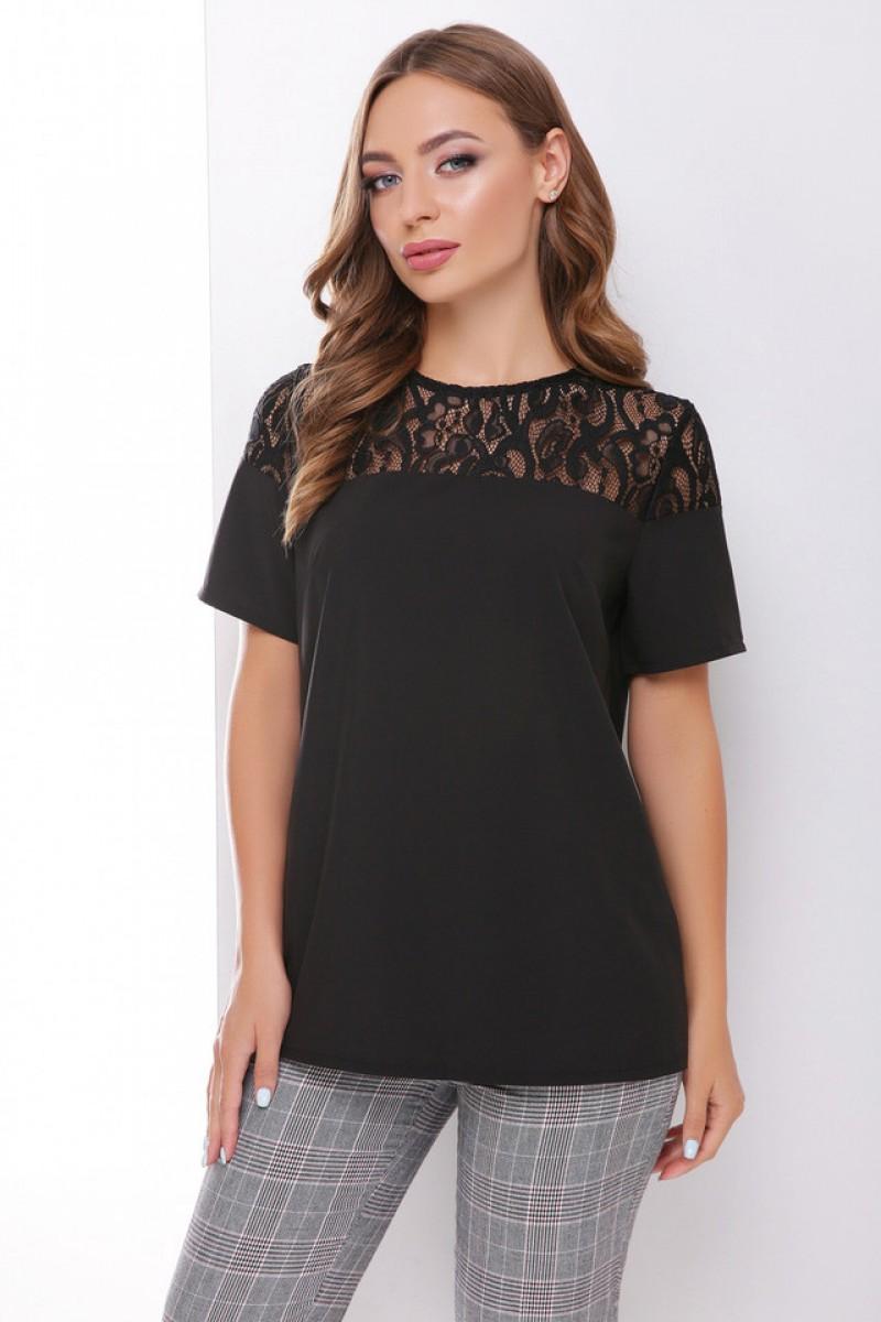Блузка з коротким рукавом і мереживом чорна