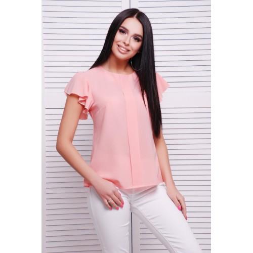 Летняя блуза с воздушным рукавчиком персиковая