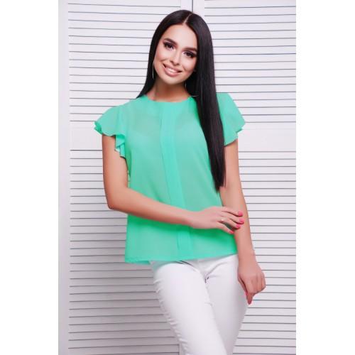 Летняя блузка цвета мяты из креп-шифона с воздушным рукавчиком