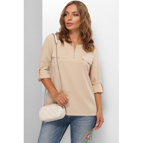 Жіноча блузка сорочка з хлястиком на рукавах бежева