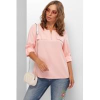 Жіноча блузка сорочка з хлястиком на рукавах персикова