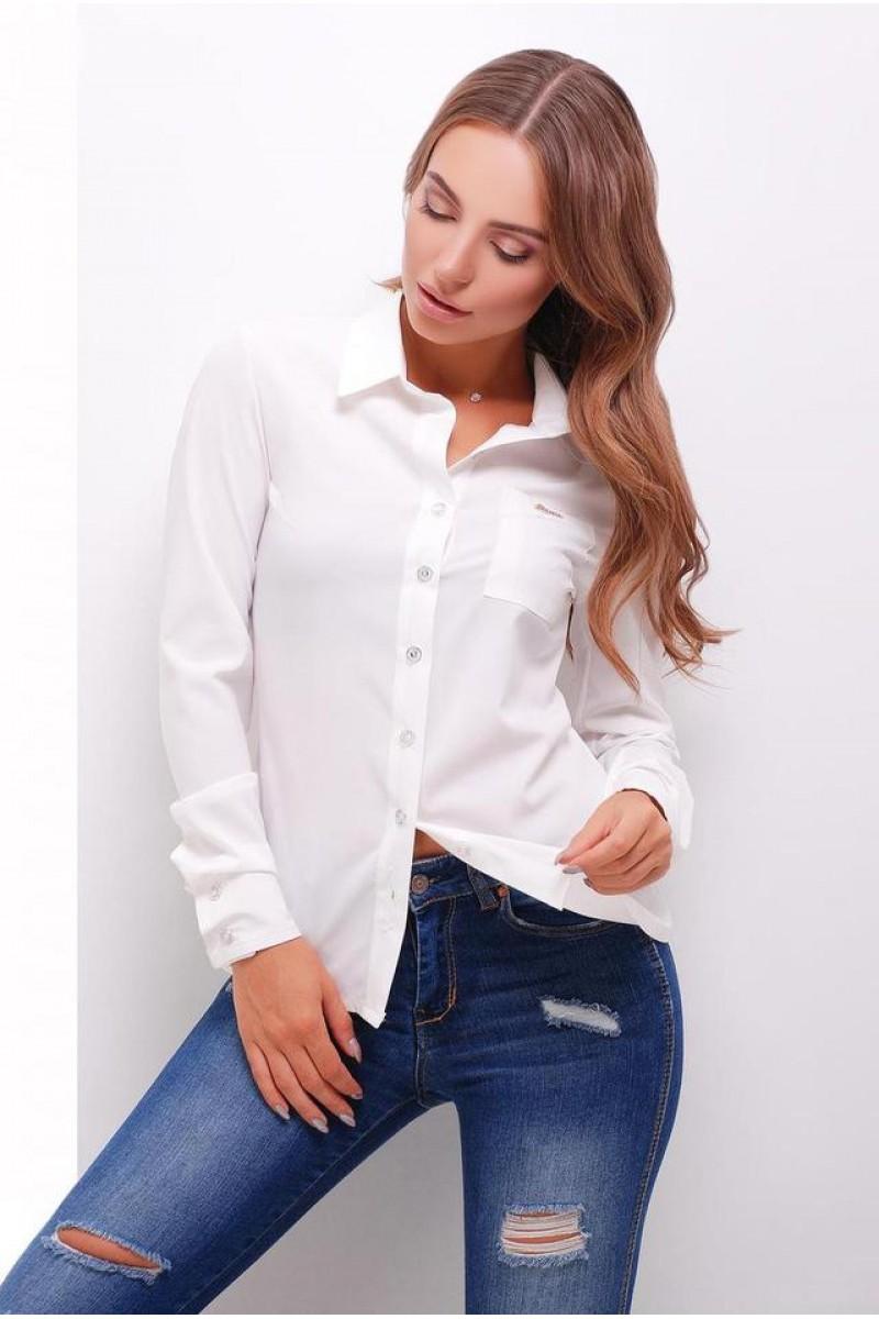 Жіноча стильна сорочка з довгим рукавом в стилі кежуал молочна