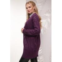 Кардиган жіночий в'язаний великого розміру фіолетовий