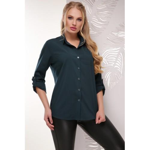 Жіноча сорочка великого розміру кольору темно-зелена