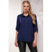 Жіноча сорочка великого розміру кольору темно-синя