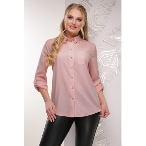 Жіноча сорочка великого розміру кольору пудра