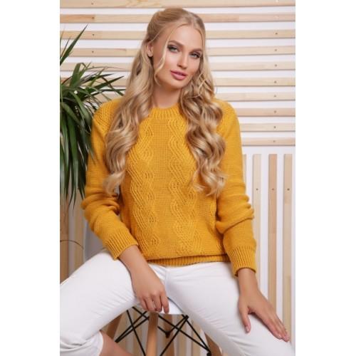 Жіночий стильний светр гірчичного кольору