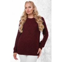 Жіночий в'язаний светр кольору марсала