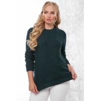 Жіночий в'язаний светр темно-зелений