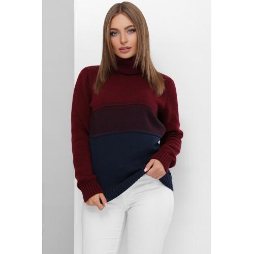 В'язаний светр жіночий під горло зимовий кольору марсала--синій