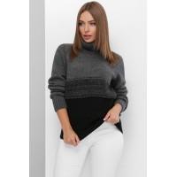 В'язаний светр жіночий під горло зимовий кольору чорний графіт-