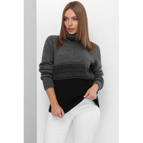 В'язаний светр жіночий під горло зимовий кольору чорний графіт