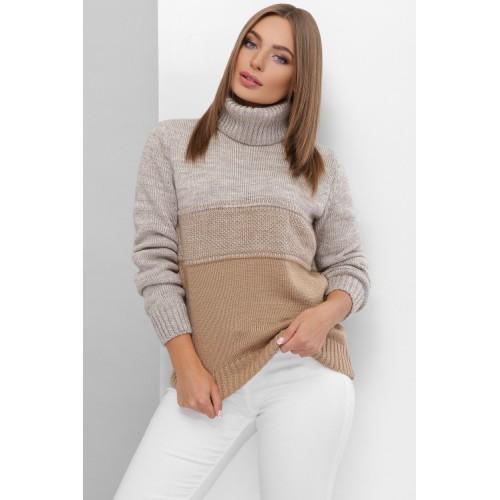 В'язаний светр жіночий під горло зимовий кольору капучино-беж