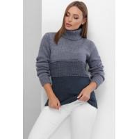 В'язаний светр жіночий під горло зимовий кольору світлий джинс
