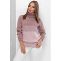 В'язаний светр жіночий під горло зимовий пудра-фрез