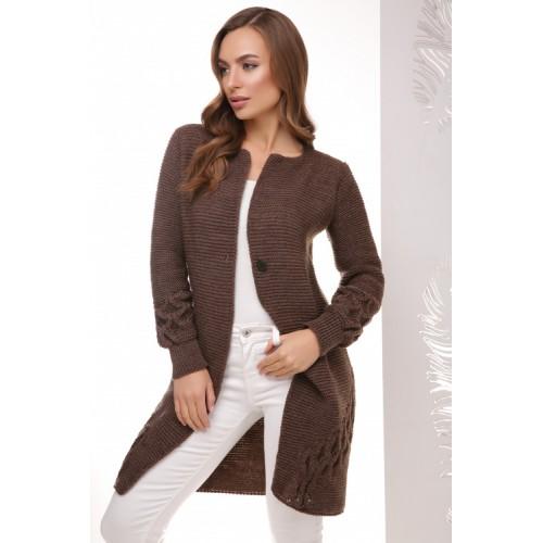 Жіночий модний в'язаний кардиган кольору коричневий