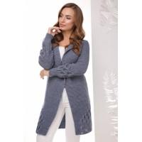 Жіночий модний в'язаний кардиган кольору світлий джинс