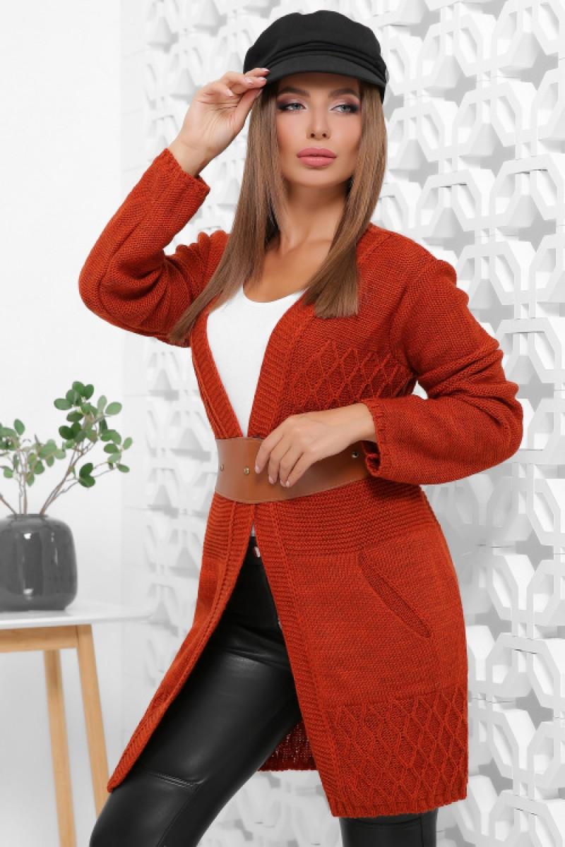 Жіночий стильний в'язаний кардиган на осінь кольору терракот