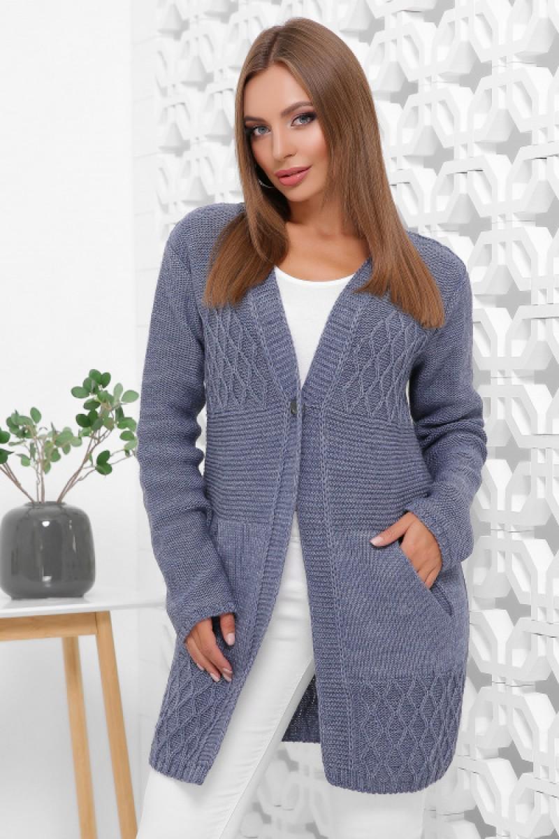 Жіночий стильний в'язаний кардиган на осінь кольору джинс