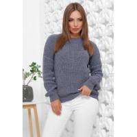 Жіночий зимовий однотонний светр oversize світлий джинс