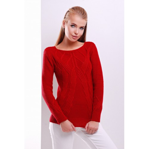 Светр жіночий з круглим вирізом і модною в'язкою червоного кольору