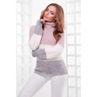 Жіночий теплий светр під горло трьох кольорів пудра-молоко-т.сірий