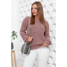 Женский зимний однотонный свитер oversize фрезовый