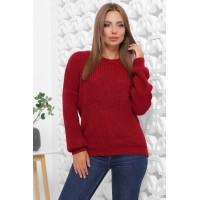 Жіночий зимовий однотонний светр oversize бордовий