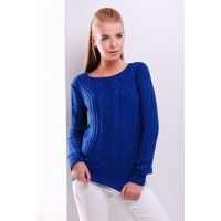 Женский однотонный свитер фактурной вязки цвета электрик